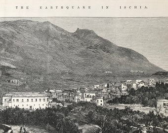 1883 The Earthquake in Ischia - Casamicciola and Mount Epomeo Original Antique Print - Italy - Mounted and Matted - Available Framed