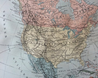 1895 North America (Political) Original Antique Map - Available Mounted and Matted - Vintage Map