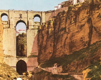 1940s Ronda, Andalusia Original Vintage Print - Spain - Bridge Architecture - Mounted and Matted - Available Framed