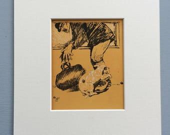 1926 Cecil Aldin Original Vintage Dog Illustration - Animal Art - Dog Drawing - Decorative Wall Art - Gift Idea - Available Framed