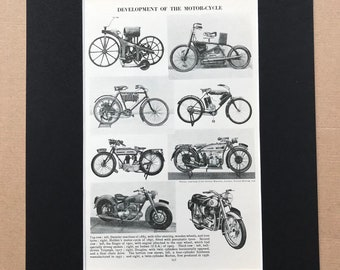 1940s Development of the Motorcycle Original Vintage Print - Mounted and Matted - Motorbike, Daimler, Indian, Triumph - Available Framed
