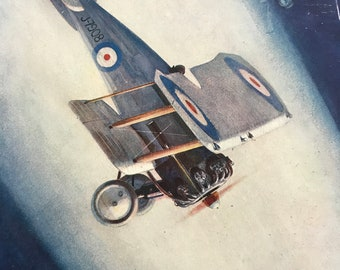 1927 British Fighting Plane 'Gamecock' Original Vintage Print - Aircraft - Airplane - Mounted and Matted - Available Framed