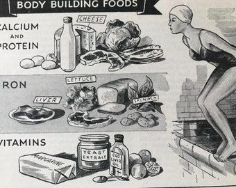 1940s Body Building FoodsOriginal Vintage Illustration - Mounted and Matted - Nutrition - Health - Calcium, Protein, Iron - Available Framed
