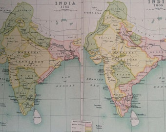 1908 India Historical Map showing India in 1765 and 1805 Original Antique Map - Available Mounted and Matted or Framed - Cartography