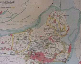 1908 Allahabad and Environs Original Antique Map - Available Mounted and Matted or Framed - India - City Plan - Cartography