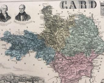 1890 Card Large Original Antique Map - Department of France - Inset Steel Engraving - Decorative Art - Cartography - Wall Decor