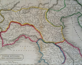 1829 Northern Italy (Italiae Antiquae) Original Antique Hand-Coloured Engraved Map - DATED - Ancient History - Classics - Wall Decor