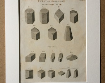 1819 Original Antique Engraving - Crystallography - Adamantine Spar and Felspar - Mounted and Matted - Mineralogy - Geology - Framed