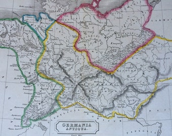 1829 Germany (Germania Antiqua) Original Antique Hand-Coloured Engraved Map - Dated - Ancient History - Classics - Wall Decor - Framed