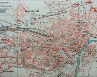 1896 Kassel Small Original Antique Map - Germany - City Plan - Cartography - Vintage Map - Wall Decor