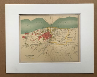 1908 Cawnpore (Kanpur) and Environs Original Antique Map - Available Mounted and Matted and Framed - India - City Plan - Cartography