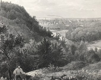 1874 East Rock, New Haven, Connecticut Original Antique Engraving - Mounted and Matted - Landscape - United States - Available Framed