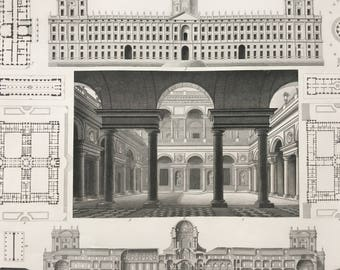1849 Italian Renaissance Architecture Large Original Antique Engraving - Mounted and Matted -  Decorative Art - Available Framed