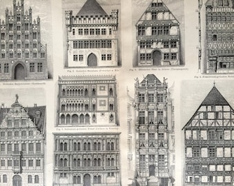 1890 Gothic and Renaissance Residential Buildings Large Original Antique print - Available Mounted and Matted - Architecture Architect Gift