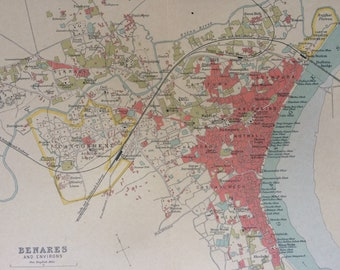 1908 Benares Varanasi and Environs Original Antique Map - Available Mounted and Matted or Framed - India - City Plan - Cartography