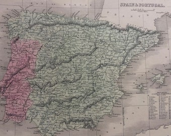 1858 Spain & Portugal Original Antique Map - Available Mounted and Matted - 12 x 16 Inches - Gift Idea - Vintage Map - Wall Decor