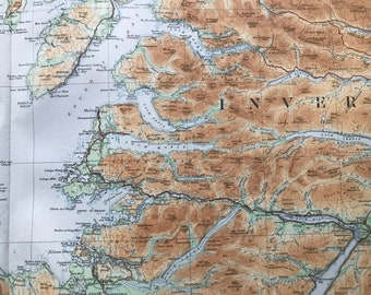1924 Inverness-shire Original Antique Ordnance Survey Panorama Map - Scotland - Cartography - Geography