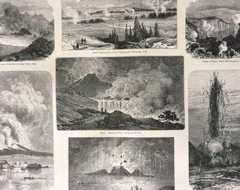 1905 Volcanoes and Volcanic Phenomena Original Antique Print - Yellowstone, Etna, Santorin, Vesuvius - Wall Decor - Gift Idea