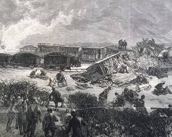 1877 The Railway Accident at Arlesey antique print from engraving, Illustrated London News, 19th Century History, Victorian Art, Wall Decor