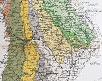 1913 Lincolnshire Original Antique Small Geological Map - UK County Map - Geology - Available Framed