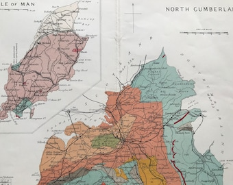 1913 North Cumberland Original Antique Small Geological Map - UK County Map - Geology - England - Cumbria - Available Framed