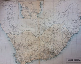 1859 SOUTH AFRICA extra large rare original antique A & C Black Map with inset map of South Central Africa showing Livingstone's travels