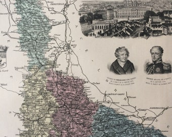 1890 Meurthe et Moselle Large Original Antique Map - Department of France - Inset Steel Engravings of Nancy and Local Dignitary Portraits