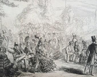 1858 The Botanic Gardens in the Regents Park, London Original Antique Engraving - Fashion - Society - Victorian Decor - Victorian Wall Art
