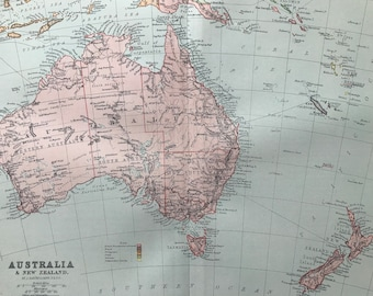1900 Australia & New Zealand Original Antique Map - Available Mounted and Matted - Australasia