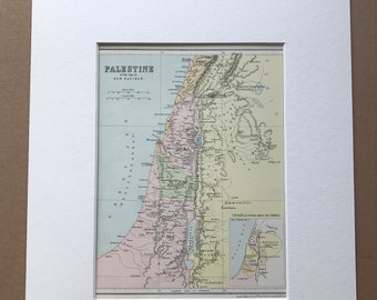 1871 Palestine in the time of Our Saviour Original Antique Map - Mounted and Matted - Palestine - Holy Land - Israel - Available Framed