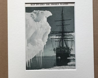 1940s Man Invades the Frozen Wastes Original Vintage Photo Print - Polar Exploration - Antarctica - Mounted and Matted - Available Framed