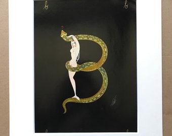 1970 Original Vintage Erte Illustration - Mounted and Matted - Available Framed - Art Deco - Alphabet Letter - Letter B - Name Day Present