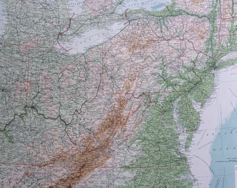 1922 UNITED STATES (North-Eastern States) Large Original Antique Times Atlas Physical Map - Virginia - Pennsylvania = Ohio - Indiana