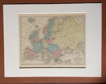 1855 EUROPE Original Antique hand coloured Map - Wall Decor - Available Mounted and Matted