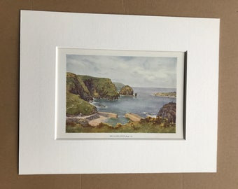 1925 Mullion Cove Original Antique Print - Cornwall - England - Mounted and Matted - Available Framed