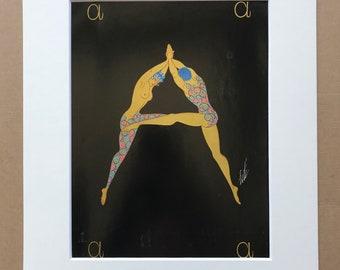 1970 Original Vintage Erte Illustration - Mounted and Matted - Available Framed - Art Deco - Alphabet Letter - Letter A - Name Day Present