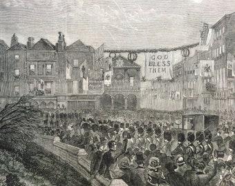 1858 The Eton Boys Dragging the Bride's Carriage through the High Street of Windsor Original Antique Illustration - Victorian Decor