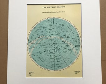 1930s The Northern Heavens Original Vintage Print - Star Map - Astronomy - Mounted and Matted - Available Framed