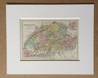 1895 Switzerland Original Antique World Map - Mounted and Matted - 8 x 10 inches - Framed Map - Gift Idea - Framed Vintage Art