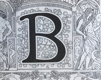 1923 Letter B Art Nouveau Original Antique Print - Mounted and Matted - Decorative Art - Alphabet - Gift Idea - Name Day Present