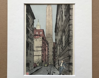 1950 Civil Service Building, Manhattan, New York Original Vintage Chiang Yee Illustration - Mounted and Matted - Available Framed