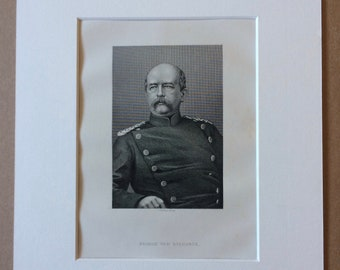 1890 Prince von Bismarck Original Antique Engraving - Mounted and Matted - Available Framed - Portrait - Portraiture - History - Military