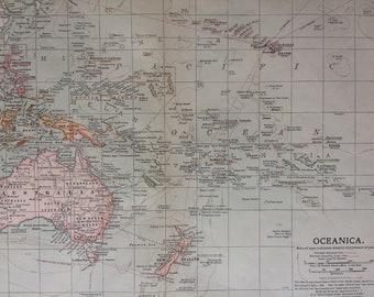 1903 Oceanica Original Large Antique Map showing colonial powers, railways, steamship lines, Ocean Depths - Pacific Ocean - Pacific Islands
