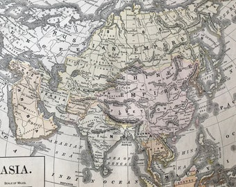 1891 Asia Original Antique Map,  - Vintage Wall Decor - Wall Map - Available Framed