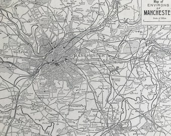 1894 The Environs of Manchester Original Antique Map - City Plan - Mounted and Matted - Available Framed