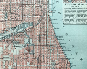 1924 Chicago Original Antique Map - Mounted and Matted - United States - City Plan - Available Framed