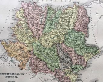 1885 Sutherland Shire Original Antique Map - Scottish County, cartography, Scotland, Victorian Decor