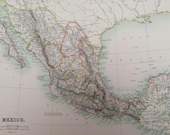 1898 Mexico Large Original Antique A & C Black Map - Mexican history - Victorian Wall Decor - Gift Idea