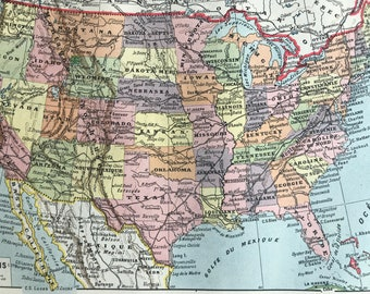 1923 United States Original Antique Map - Mounted and Matted - Decorative Art - Wall Decor - Cartography - Available Framed