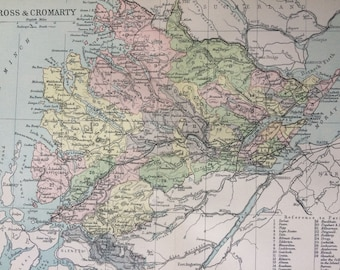 1902 Ross & Cromarty Small Original Antique Map - Scotland - Scottish History - Wall Decor - Scottish County - Available Framed